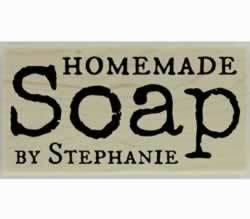 "Personalized Homemade Soap Rubber Stamp - 3"" X 1.5"" - Stamptopia"