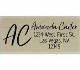 "Personalized Initial Monogram Return Address Stamp - 2.5"" X 1"" - Stamptopia"