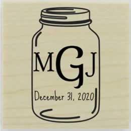 "Personalized Mason Jar Monogram Stamp - 1.5"" X 1.5"" - Stamptopia"
