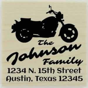 "Personalized Motorcycle Address Stamp - 1.5"" X 1.5"" - Stamptopia"