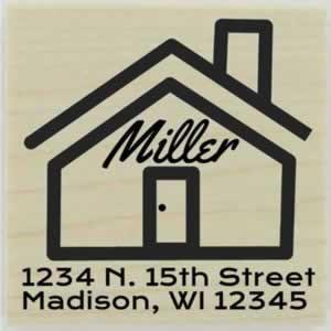 "Personalized Name On Home Address Stamp - 1.5"" X 1.5"" - Stamptopia"