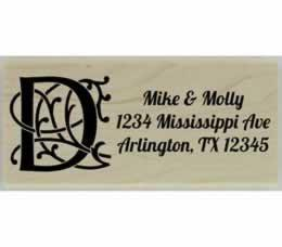 "Personalized Ornamental Monogram Address Stamp - 2.5"" X 1"" - Stamptopia"