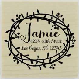 "Personalized Round Floral Border Address Stamp - 2"" X 2"" - Stamptopia"