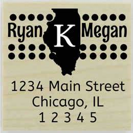"Personalized State Monogram Address Stamp - 1.5"" X 1.5"" - Stamptopia"