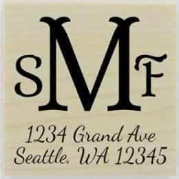 "Personalized Three Initial Monogram Address Stamp - 1.5"" X 1.5"" - Stamptopia"