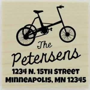 "Personalized Tricycle Return Address Stamp - 1.5"" X 1.5"" - Stamptopia"