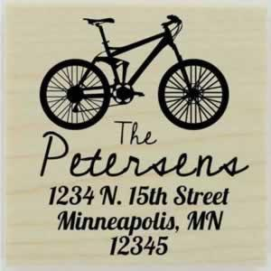 "Petersen Bicycle Address Stamp - 1.5"" X 1.5"" - Stamptopia"