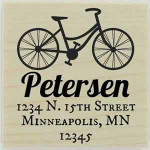 "Petersen Bike Return Address Stamp - 1.5"" X 1.5"" - Stamptopia"