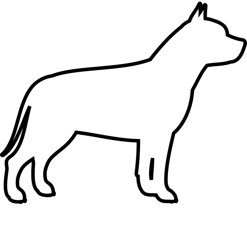 Pit Bull Rubber Stamp (Outline) - Stamptopia