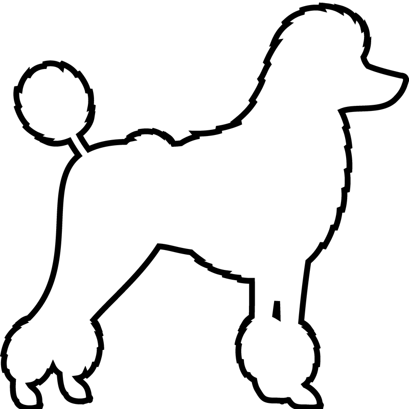 Poodle Rubber Stamp (Outline) - Stamptopia