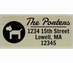 "Porters Custom Dog In Circle Address Stamp - 2.5"" X 1"" - Stamptopia"