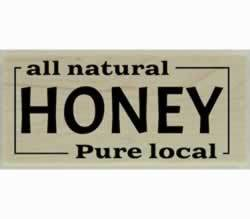 "Pure Local All Natural Honey Rubber Stamp - 2"" X 1"" - Stamptopia"