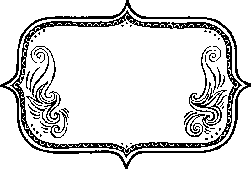 Rectangle Border With Swirl Design Rubber Stamp
