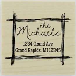 "Rectangle Hand Drawn Border Address Stamp - 2"" X 2"" - Stamptopia"