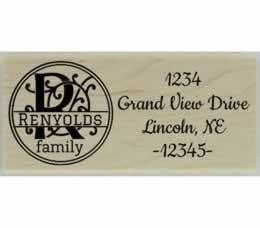 "Renyolds Round Flourish Monogram Address Stamp - 2.5"" X 1"" - Stamptopia"