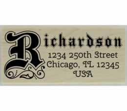 "Richardson Swirl Monogram Return Address Stamp - 2.5"" X 1"" - Stamptopia"