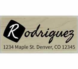 "Rodriguez Diamond Monogram Address Stamp - 2.5"" X 1"" - Stamptopia"