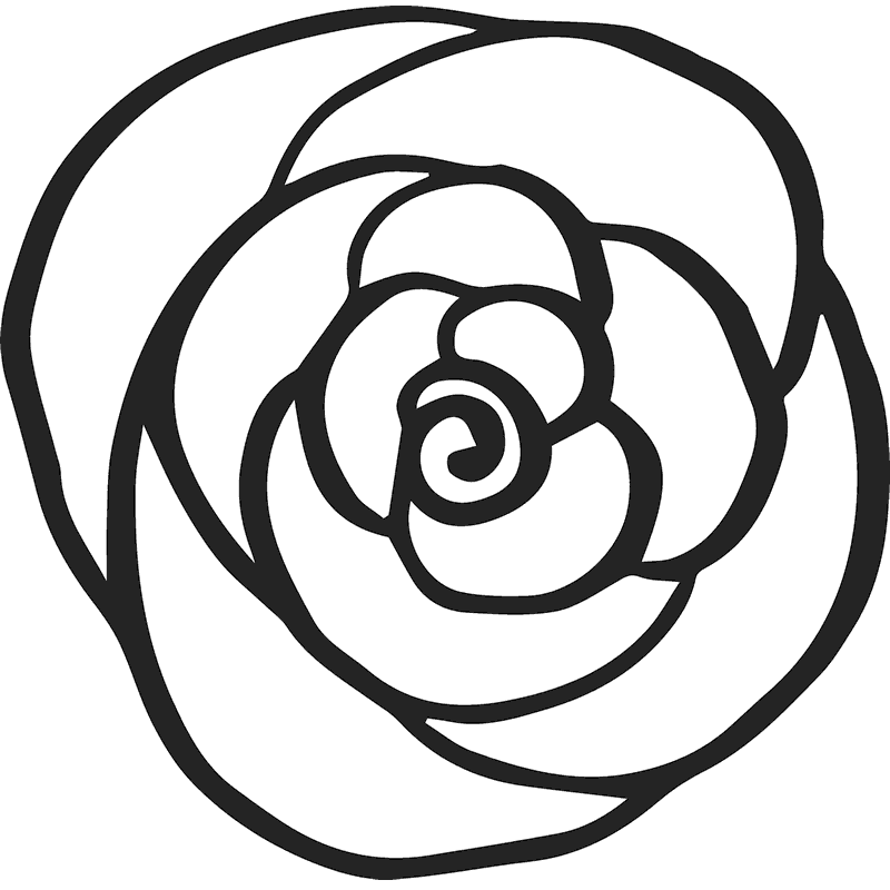 Rose Outline Rubber Stamp - Stamptopia