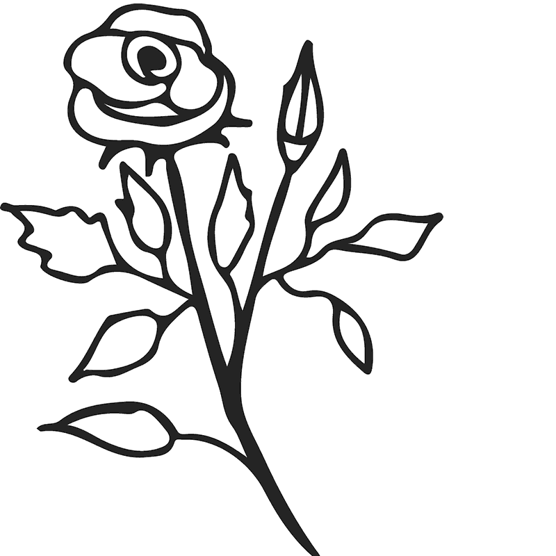 Rose Stem Outline Rubber Stamp - Stamptopia