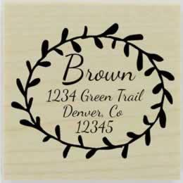 "Round Floral Border Return Address Stamp - 2"" X 2"" - Stamptopia"