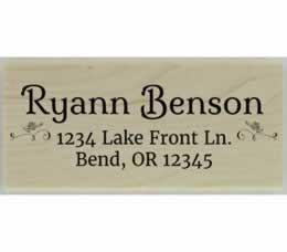 "Ryann Flower Decoration Address Stamp - 2.5"" X 1.25"" - Stamptopia"