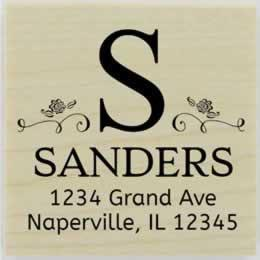 "Sanders Swirl Monogram Address Stamp - 1.5"" X 1.5"" - Stamptopia"