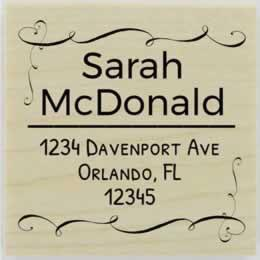 "Sarah Ornamental Border Address Stamp - 1.5"" X 1.5"" - Stamptopia"