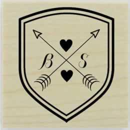 "Shield And Arrows Monogram Stamp - 1.5"" X 1.5"" - Stamptopia"