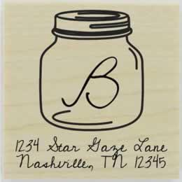 "Short Mason Jar Monogram Address Stamp - 1.5"" X 1.5"" - Stamptopia"