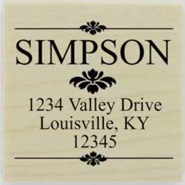 "Simpson Ornamental Border Address Stamp - 1.5"" X 1.5"" - Stamptopia"