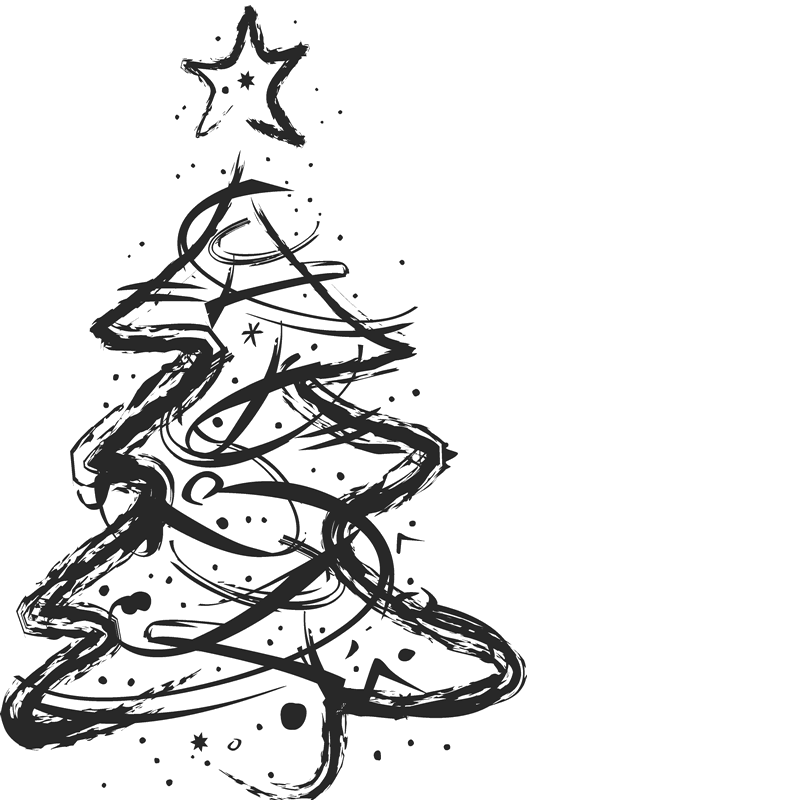 Sketched Artistic Christmas Tree Stamp - Stamptopia