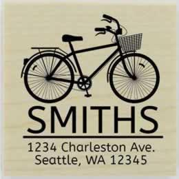 "Smith Bicycle With Basket Address Stamp - 1.5"" X 1.5"" - Stamptopia"