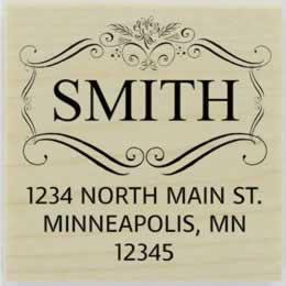 "Smith Ornamental Name Border Stamp - 2"" X 2"" - Stamptopia"