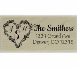 "Smithers Heart Initial Monogram Stamp - 2.5"" X 1"" - Stamptopia"
