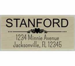 "Stanford Flourish Heart Divider Address Stamp - 2.5"" X 1.25"" - Stamptopia"