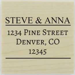 "Steve Line Divider Return Address Stamp - 1.5"" X 1.5"" - Stamptopia"