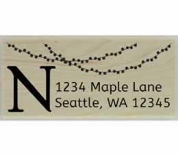 "String Of Lights Monogram Address Stamp - 2.5"" X 1"" - Stamptopia"