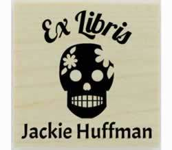 "Sugar Skull Personalized Book Stamp - 1.5"" X 1.5"" - Stamptopia"