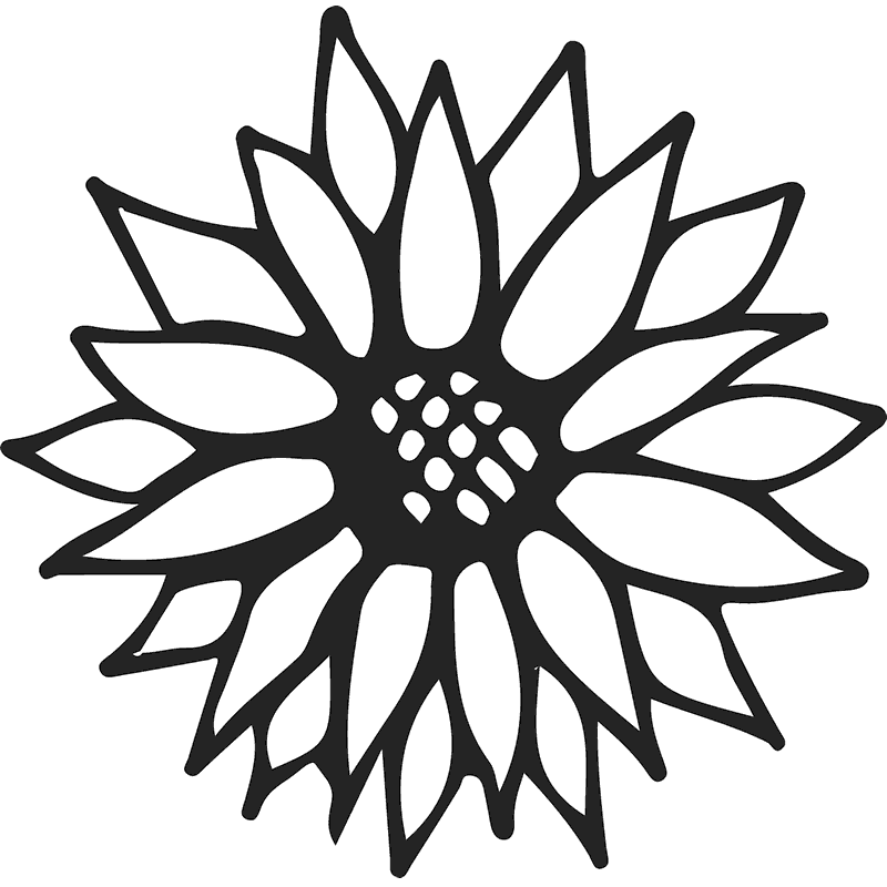 Sunflower Outline Rubber Stamp - Stamptopia