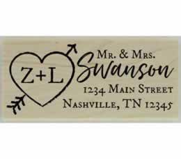 "Swanson Heart & Arrow Monogram Stamp - 2.5"" X 1"" - Stamptopia"
