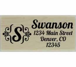 "Swanson Ornamental Monogram Address Stamp - 2.5"" X 1"" - Stamptopia"
