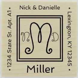 "Swirl Monogram Return Address Stamp - 1.5"" X 1.5"" - Stamptopia"