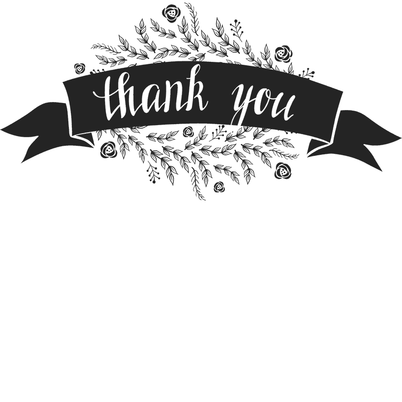 Thank You Stamp With Flowers And Ribbon Banner - Stamptopia