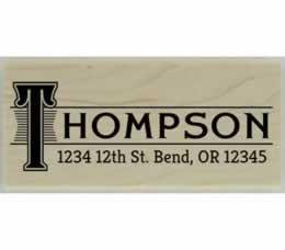 "Thompson Monogram Name Border Address Stamp - 2.5"" X 1"" - Stamptopia"