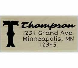 "Thompson Monogram Return Address Stamp - 2.5"" X 1"" - Stamptopia"