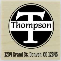 "Thompson Round Monogram Name Address Stamp - 1.5"" X 1.5"" - Stamptopia"