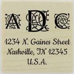 "Three Ornamental Letters Monogram Stamp - 1.5"" X 1.5"" - Stamptopia"