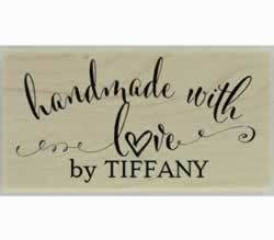 "Tiffany Handmade With Love Custom Stamp - 1.5"" X 0.75"" - Stamptopia"