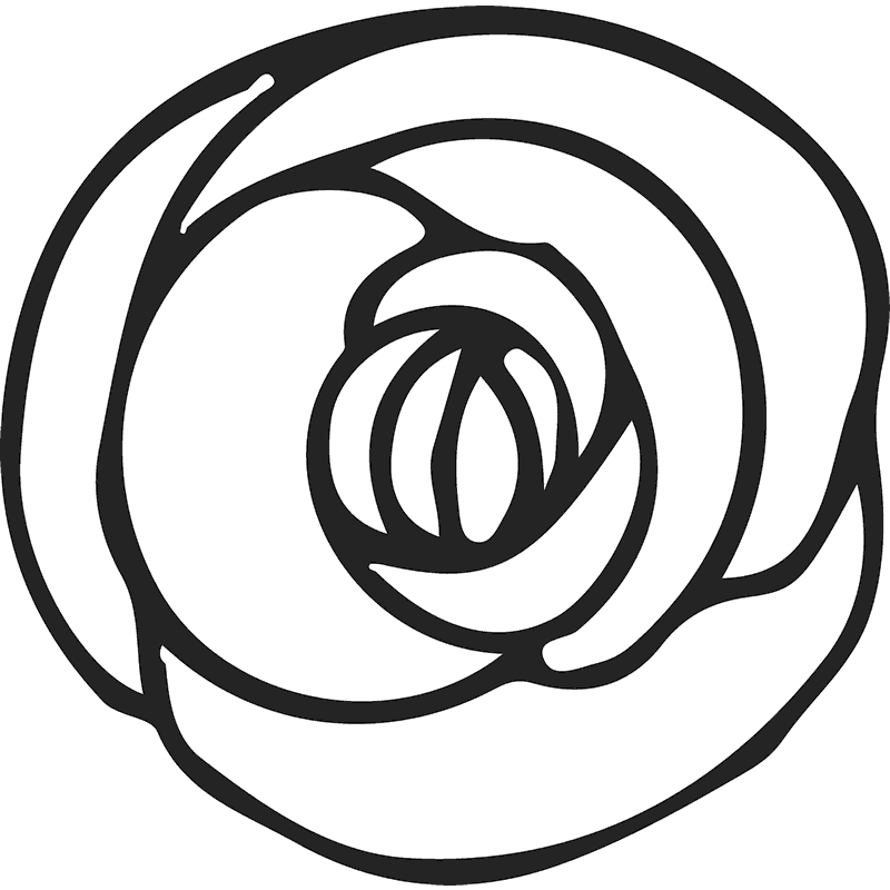Top Of Rose Sketch Rubber Stamp - Stamptopia