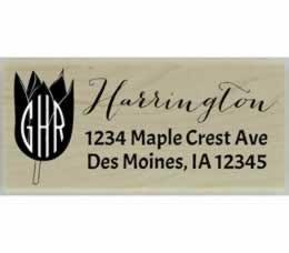 "Tulip Monogram Return Address Stamp - 2.5"" X 1"" - Stamptopia"